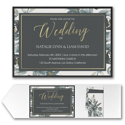 Alluring Roses Invitation with Pocket and Backer