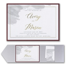 Luxury wedding invitations: Brushed Watercolor Invitation with Pocket and Backer