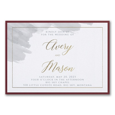 Brushed Watercolor Invitation with Backer