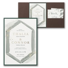 Luxury wedding invitations: Watercolor Diamond Invitation with Pocket and Backer