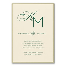 Monogram wedding invitation: Initially Loved Invitation with Backer