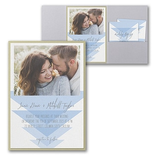 : Geometric Triangles Invitation with Pocket and Backer