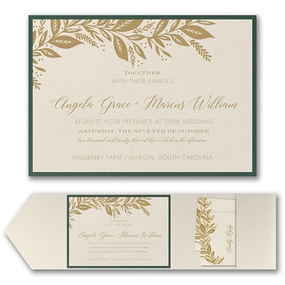 Canopy of Leaves Invitation with Pocket and Backer