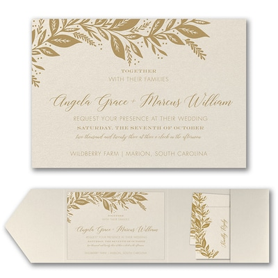 Canopy of Leaves Invitation with Pocket