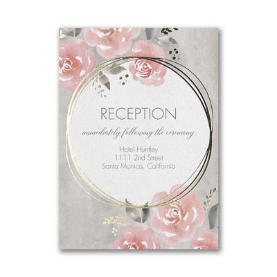 Pastel Roses Reception Card
