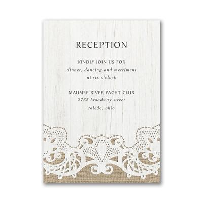Ornate Burlap Reception Card