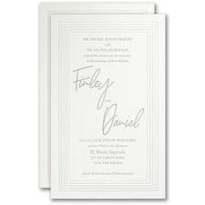 Letterpress wedding invitations: Pearlized Borders Invitation