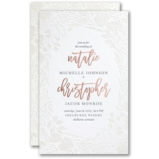 Letterpress wedding invitations: Pearl Blooms Invitation