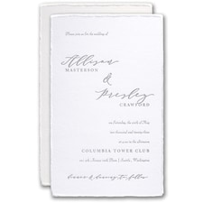 Letterpress wedding invitations: Feather Deckle Invitation