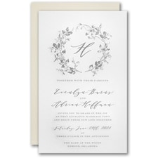 Luxury wedding invitations: Wreath of Leaves Invitation