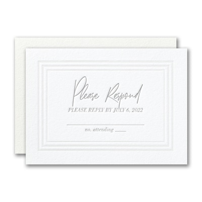 Pearlized Borders Response Card and Envelope