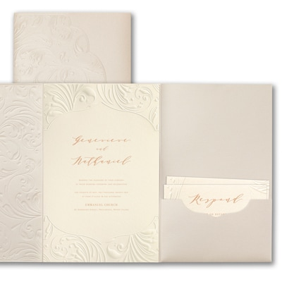 Extravagant Flourishes Invitation - Ecru Shimmer Pocket