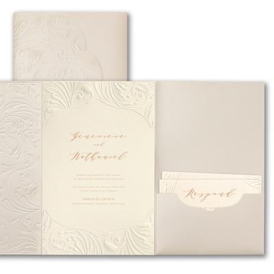 Extravagant Flourishes Invitation - Ecru Shimmer Pocket