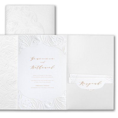 Extravagant Flourishes Invitation - White Shimmer Pocket