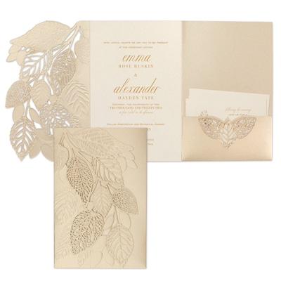 Delightful Leaves Invitation - Gold Shimmer Pocket
