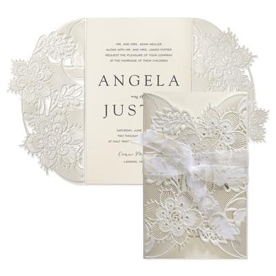Delicate Lace Invitation - Ecru Shimmer Wrap