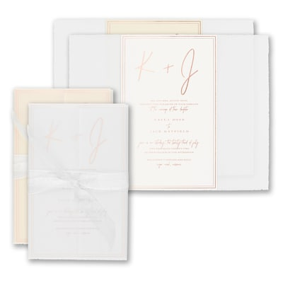 Deckled Simplicity Invitation - Wrap with White Sheer Ribbon
