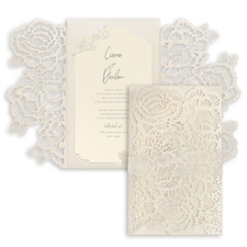 Luxurious Blooms Invitation - Ecru Shimmer Wrap