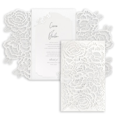 Luxurious Blooms Invitation - White Shimmer Wrap