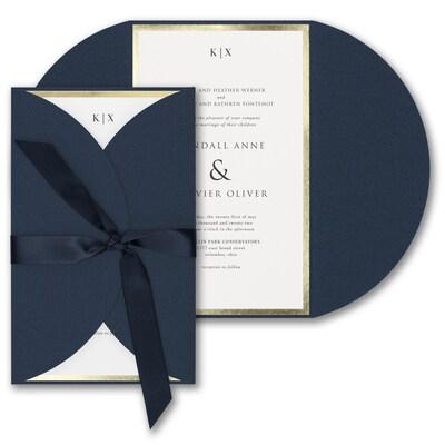 Decorative Treasure Invitation - Navy Shimmer Wrap