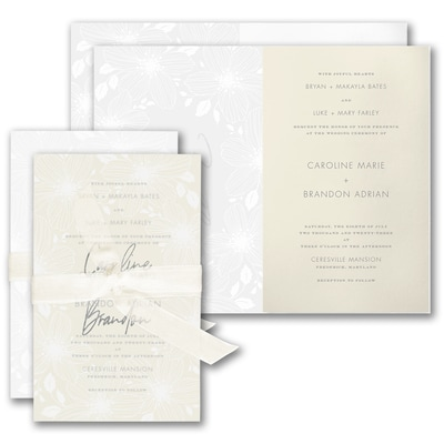 Floral Fancy Invitation - Wrap with Ecru Sheer Ribbon