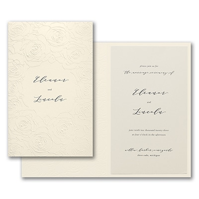 Sculpted Rose Invitation - Ecru Wrap