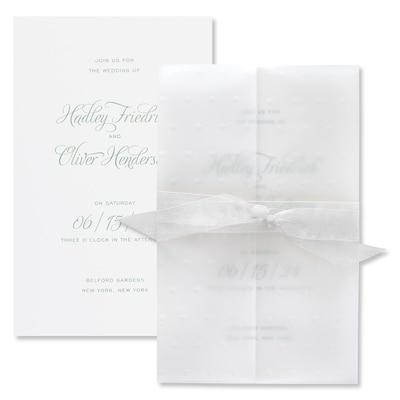 Sprinkled With Love Invitation - Wrap with White Sheer Ribbon