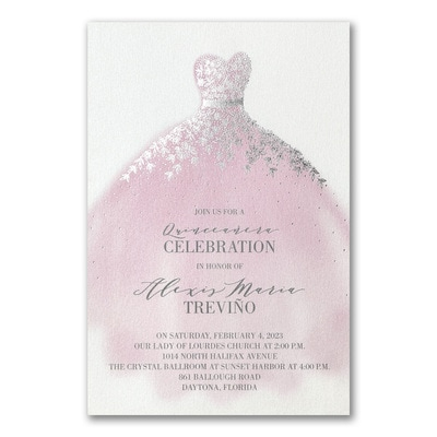 Flowered Ball Gown Invitation