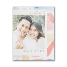 Colorful Brush Strokes - Save the Date Postcard