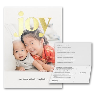 Joy Foil Portrait Photo Card