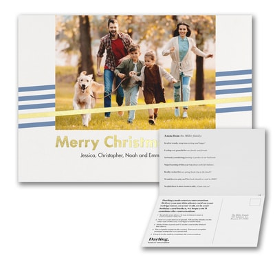 Merry Christmas Foil Stripe Photo Card