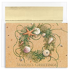 Beach Wreath Boxed Holiday Card