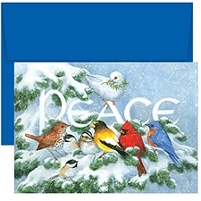 Birds on Branch Boxed Holiday Card