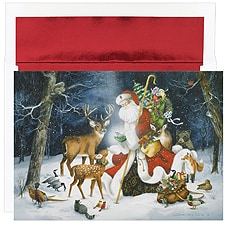 Winter Santa Scene Boxed Holiday Card