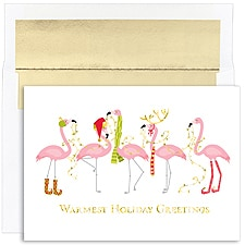 Fashionista Flamingos Boxed Holiday Card