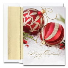 Red & Gold Ornaments Holiday Collection Boxed Holiday Card