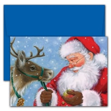 Santa Feeding Reindeer Hollyville Boxed Holiday Card