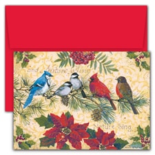 Birds & Berries Hollyville Boxed Holiday Card