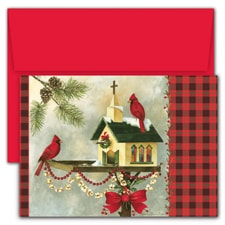Christmas Cardinals Hollyville Boxed Holiday Card