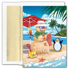 Beach Penguin Warmest Wishes Boxed Holiday Card