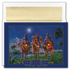 Wisemen At Night Holiday Collection Boxed Holiday Card
