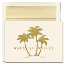 Gold Palms Warmest Wishes Boxed Holiday Card