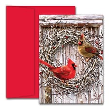 Cardinal Wreath Hollyville Boxed Holiday Card