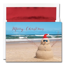 Beach Snowman Warmest Wishes Boxed Holiday Card