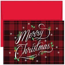 Plaid Merry Christmas Hollyville Boxed Holiday Card