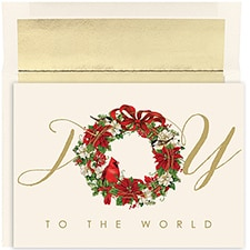Cardinal Wreath Holiday Collection Boxed Holiday Card