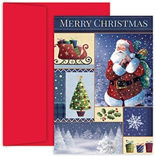 Santa Collage Hollyville Boxed Holiday Card