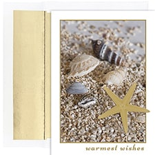 Shells In Sand Warmest Wishes Boxed Holiday Card