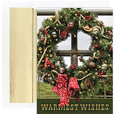 Western Wreath Warmest Wishes Boxed Holiday Card