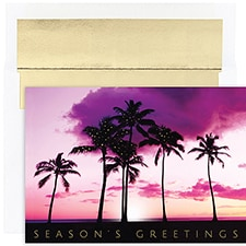 Sunset Palms Warmest Wishes Boxed Holiday Card